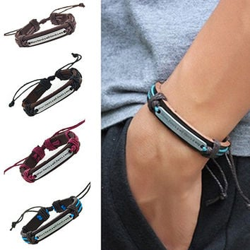 Hot Men's Women's Punk Letter Faux Leather Bangle Hemp Rope Wristband Bracelet 6Y94 7FHK BEIL