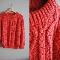 Coral Cuteness - Vintage 80s Fisherman Cable Knit Coral Pink Sweater