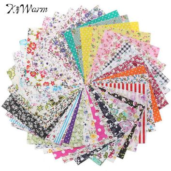 KiWarm 50Pcs Floral Cotton Fabric Pre Cut Cloth for Patchwork Quilting Sewing Home Needlework Crafts Cloth DIY Material 10*10cm