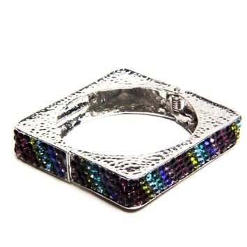 Square Multi-Color Crystal Bangle Bracelet