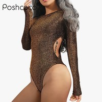 Poshcoco Street Style Gold Wire Waist Hollow Out Women Sexy Skinny Bodysuits 2017 New Fashion O neck Long Sleeve Sexy Body Suits