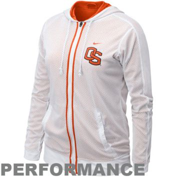 Nike Oregon State Beavers Ladies White Fresh Mesh Full Zip Performance Hoodie Jacket