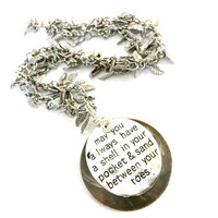 Stamped Inspirational Pendant Necklace, Summer Jewelry, Mixed Metal Jewelry