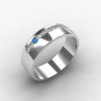 Blue diamond ring, palladium wedding band, unique wedding ring, mens wedding band, men palladium ring, men diamond ring, blue wedding