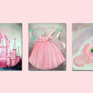 Princess Nursery Decor, Nursery Prints, Baby girl nursery, Cinderella Wall Art, Girls room Decor, Princess Wall Art, Kids Nursery Decor