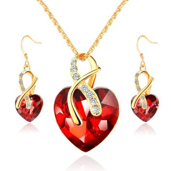 Morenitor Gold Plated necklace Sets For Women Crystal Heart Necklace Earrings Jewellery Set Bridal Wedding Accessories