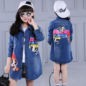 2018 New Spring Autumn Trench Coats for Child Powerpuff Cartoon Girl Top Jacket Denim Topcoat Jeans Coach Jacket for Girls