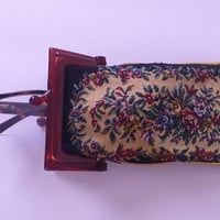 vintage Tapestry eyeglass case with Lucite Kiss lock clasp