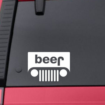 Jeep Beer Decal - Jeep Beer Sticker - Beer Decal Beer Sticker *Choose size & color* Funny Goofy Beer Jeep Sticker Jeep Decal - Trucks Mopar
