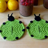 Crochet Green Ladybug Coasters (set of 2)