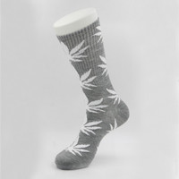 Marijuana Weed Leaf Printed Cotton Long Socks (Grey - White)