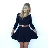 Flirt In Flare Dress In Black
