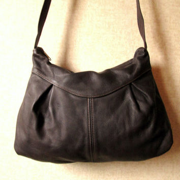 Crossbody Hobo Bag Dark Brown Handcrafted Leather long strap purse slouchy soft sling vintage 80s 90s handmade leather artisan shoulder bag