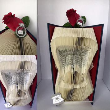 Folded Book Art Proposal Gift Will You Marry Me Engagement Ring Box Unique Proposal Wedding