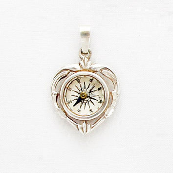1920s German Compass Charm in Heart Shape