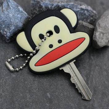 Paul Frank Key Cover, Monkey Key Cap, Rubber Keychain, Key Organizer, Gorilla Key Fob, Key Accessory, Key Toppers,  Cute Key Covers