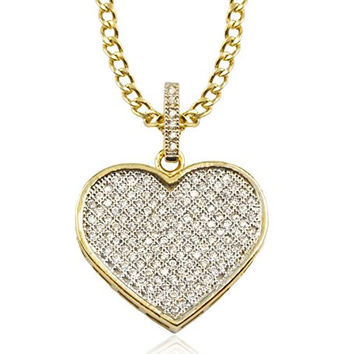10K Yellow Gold Heart with Cubic Zirconia Pendant Necklace 18inch