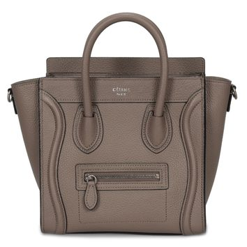 Celine Nano Luggage Bag in Baby Drummed Tan Calfskin Leather