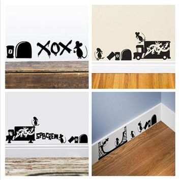 Free Shipping Mouse Play Hole home decal wall sticker little rats wall decor stairs window decal funny kids gifts ZY389