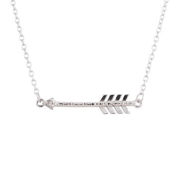 Sterling Silver Rhodium Plated Diamond Accent Sideways Arrow Necklace, 18""