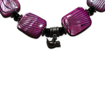 OOAK Pink and Black Beaded Necklace with Silver bird by chumaka