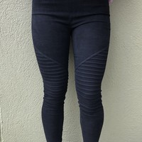 Adriana Moto Leggings -Black