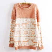 Deer Snowflake Round Neck Sweater For Women