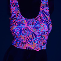 Neon UV Glow Geometric Print Spandex Bodycon Clubwear Crop Top with Scoop Neckline  -E7794