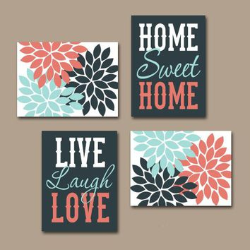 WALL ART CANVAS or Prints, Live Laugh Love Art, Home Sweet Home, Life Quote Decor, Flower Decor, Set of 4, Quote Home Decor Wall Decor