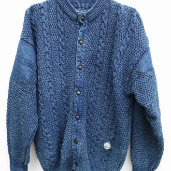 VTG Denim Bomber Jacket Knitted Large Chunky Sweater Warm bomber jacket 80s denim jacket Boyfriend jacket Blue jacket Blue knit Sweater