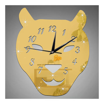 Leopard Cat Silent Quartz Living Room Decoration Mirror Wall Clock   golden