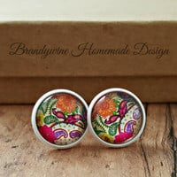White Paisley Earrings, 12mm Round Glass Cabochon Earrings, Trendy Earrings, Stud Earrings, Preppy Earrings