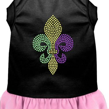 Mardi Gras Fleur De Lis Rhinestone Dress Black With Light Pink Lg (14) large