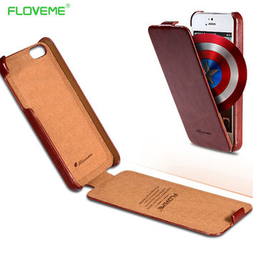 FLOVEME For iPhone 4 4S Cases Luxury Crazy Horse Skins PU Leather Flip Case For iPhone 4 4S 5 5S SE Vertical Retro Protect Cover