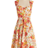 ModCloth Long Sleeveless Fit & Flare Dreamy Day Away Dress