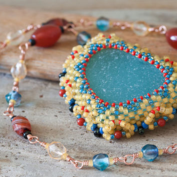 Statement Necklace With Genuine Sea Glass in Beadwoven Seed Beads Bezel by CookOnStrike