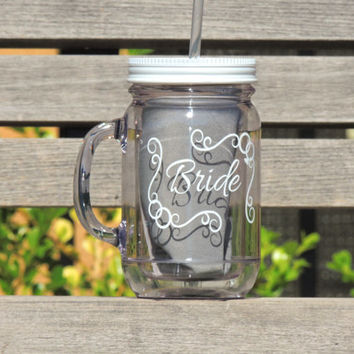 Acrylic mason mug, Bridal mason mug, wedding mason jars, drinking mason jar, Customized mason mug, personalized mason jar, wedding party