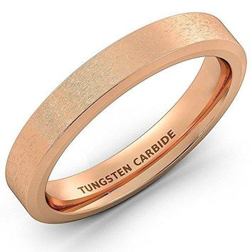 4mm Rose Gold Brushed Tungsten Ring Beveled Edge Comfort Fit (14k, 18k Rose Gold)