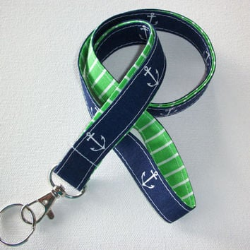 Lanyard  ID Badge Holder - Anchors - Lobster clasp and key ring - navy blue white with green white stipes two toned double sided