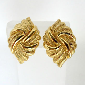 Vintage Napier Swirl Knot  Earrings, Gold Tone Screwback Clip-ons Earrings