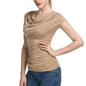 Women Cowl Neck T-shirts tops women Sleeveless t-shirt Ruched Slim Tshirts Navy Blue Solid Summer Sexy TOP  New