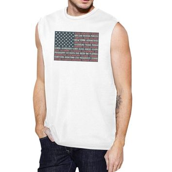 50 States Us Flag Mens White Muscle Top Cap Sleeve For 4th Of July