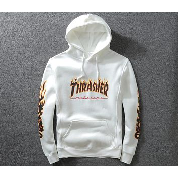 THRASHER hip hop hooded plus velvet head classic flame logo hooded sweater F-A-KSFZ White
