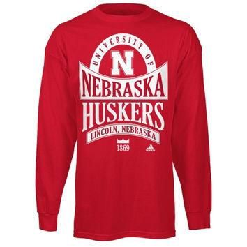 adidas Nebraska Cornhuskers Scarlet Mountain Top Long Sleeve T-Shirt
