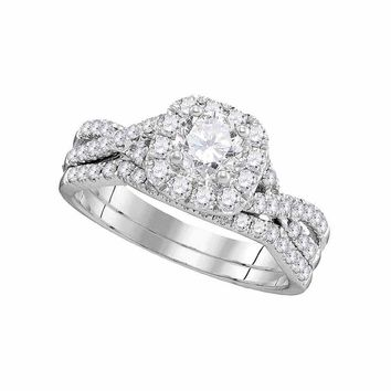 14kt White Gold Womens Round Diamond Halo Twist Bridal Wedding Engagement Ring Band Set 1.00 Cttw