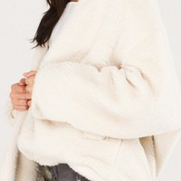 AKIRA Teddy Plush Fur Coat in Cream