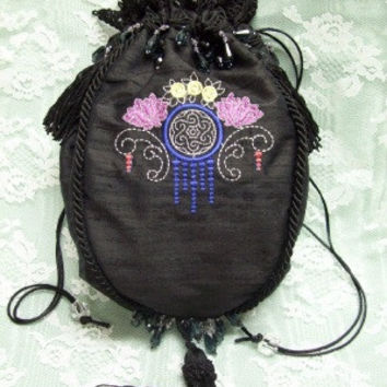 Black silk dupioni drawstring Reticule with 1920's Art Deco embroidered design