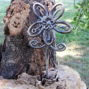Flower Metal Sculpture Plant Stake Garden Stake Yard Art Garden Art Found Objects FOREVER FLOWER