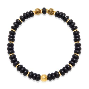 Men's Wristband with Rondelle Matte Onyx and Gold