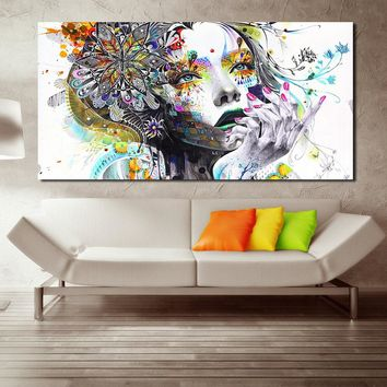JQHYART Modern Wall Art Girl With Flowers Oil Painting Prints Painting On Canvas No Frame Pictures Decor For Living Room